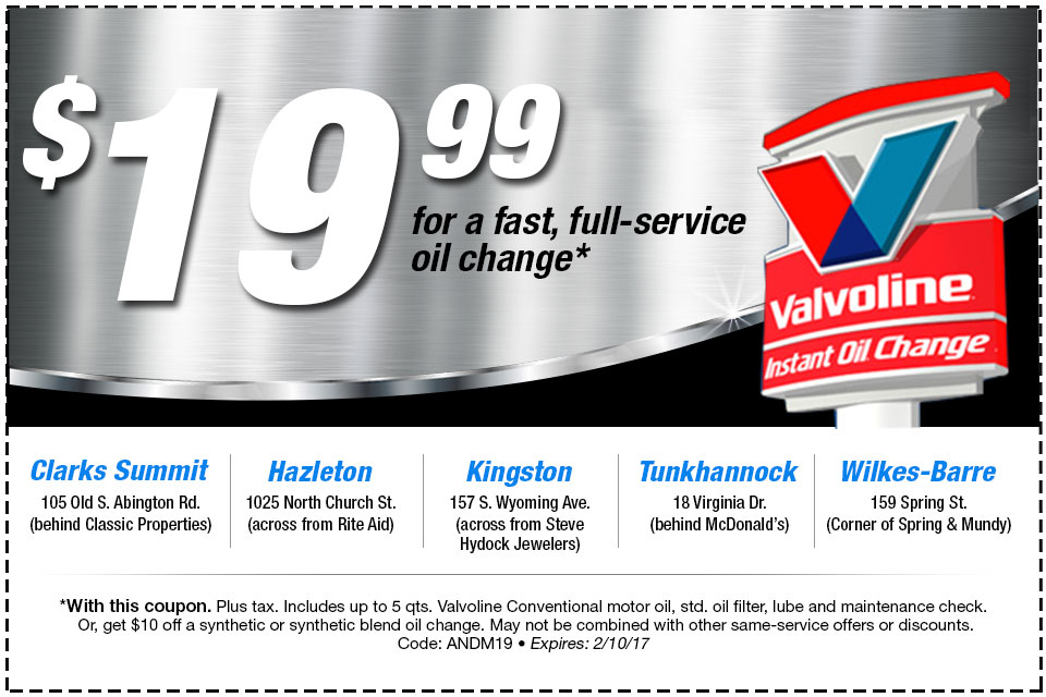 Valvoline Instant Oil Change for $19.99* | Times Shamrock ...