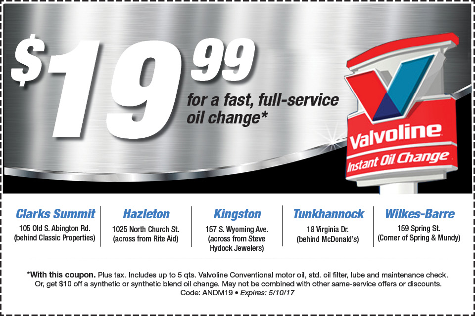 valvoline instant oil change may 2017